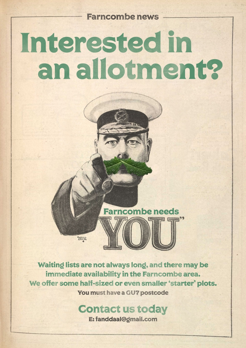 Farncombe Allotment Recruitment Poster